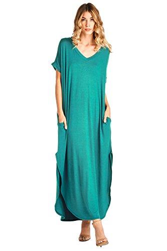 12 Ami Solid V-Neck Pocket Loose Maxi Dress Jade M