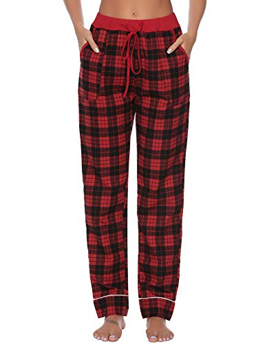 iClosam Women's Pajama Bottoms 100% Cotton Sleepwear Check PJS Lounge Pants Trousers(S-XXL) Red
