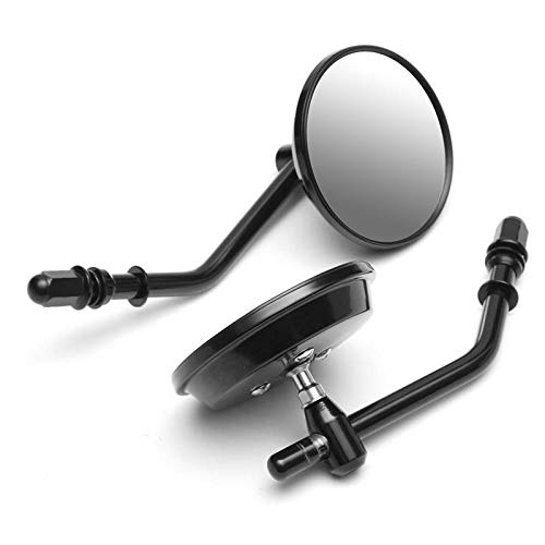 TOOGOO Black Round Rear View Mirror for Harley Sportster Softail Dyna Fatboy Motorcycle Rear View Mirrors