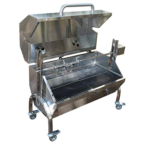 Titan Great Outdoors 35W Stainless Steel Rotisserie Grill Roaster w/Glass Hood 85 LB Capacity