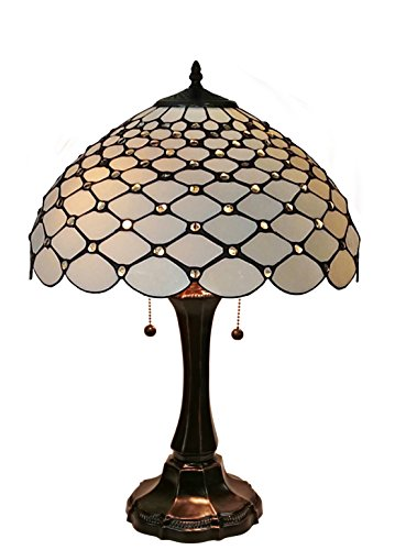 Amora Lighting Tiffany Style Chandelle Table Lamp, 26 Inches (Brown Glass Table Lamp)