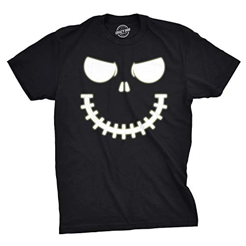 Mens Skeleton Zipper Pumpkin Face Tshirt Glow in The Dark Jack O Lantern Tee (Black) - XL]()
