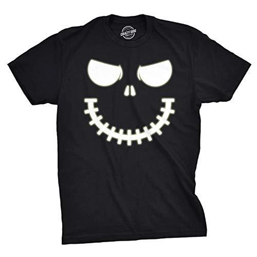Mens Skeleton Zipper Pumpkin Face Tshirt Glow in The Dark Jack O Lantern Tee (Black) - XL