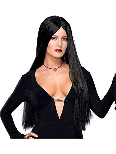 Secret Wishes  Costume The Addams Family Deluxe Morticia Wig, Black, One -
