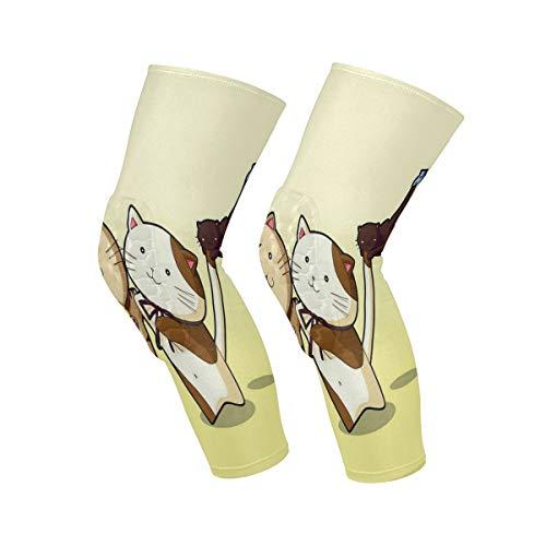 Knee Sleeve Cute Cat?Cartoon Full Leg Brace Compression Long Sleeves Pads Socks for Meniscus Tear, Arthritis, Running, Workout, Basketball, Sports, Men and Women 1 Pair