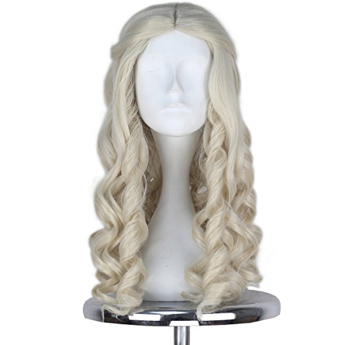 (Synthetic Long Curly Center Part Women White Blonde Platinum Color Queen Halloween Cosplay Costume Wig Adult Kids (White)