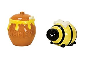 Ceramic Bee and Honey Pot Salt and Pepper Shaker Set by Boston Warehouse