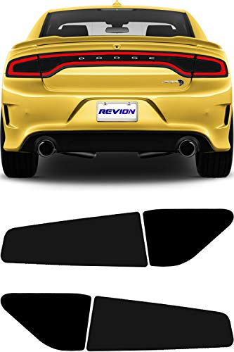 REVION Autoworks 2015-2019 Dodge Charger Tail Light Tint Kit | Precut Dark Black Smoke Vinyl Overlays for