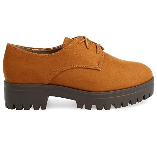 Zapato Cm Tacn Tipo Plataforma 3 Goma Plataforma Blucher Redondos De Cordones Del 4 Con Altura rgxf7r