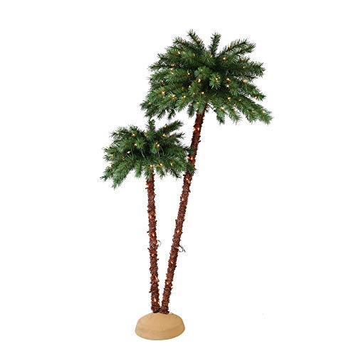 Puleo International 3.5 6 Foot Pre-Lit Artificial Palm Tree with 175 UL Lights (Tree Optic Palm Fiber)
