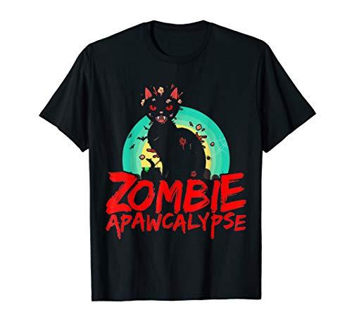 Zombie Cat APAWCALYPSE Halloween T-Shirt Kittie Pun Costume