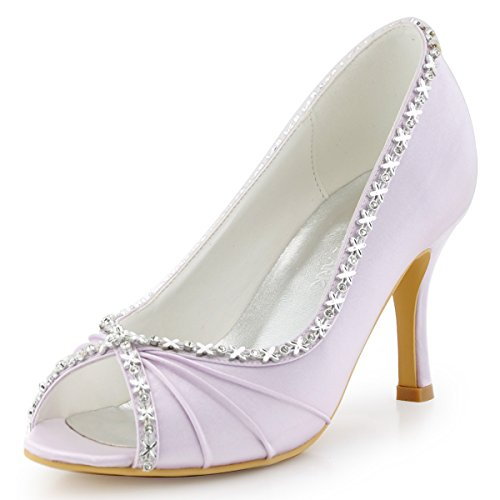 ElegantPark Women Peep Toe Rhinestones High Heel Pleated Satin Pumps Lavender