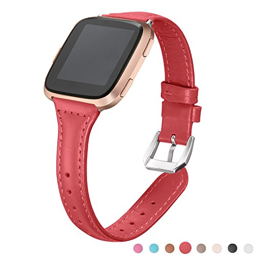 bayite Bands Compatible Fitbit Versa, Red, Replacement Slim Genuine Leather Band Accessories Strap Women Men, (5.3-7.8), Red Band