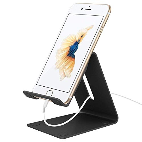 Verigle Desktop Cell Portable Aluminum Cellphone Cradle Universal Holder Stand Mobile Dock Mount Smart-Phones Tablets, Black