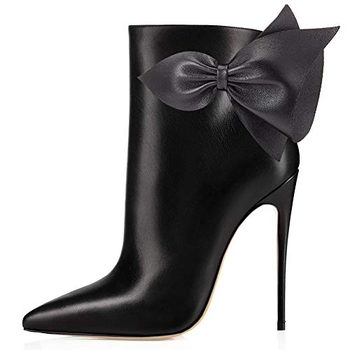 VOCOSI Women's Booties Pointed pu Dress Stilettos With Autumn Ankle Bowknot Boots Toe Closed Black rrzgwqSd
