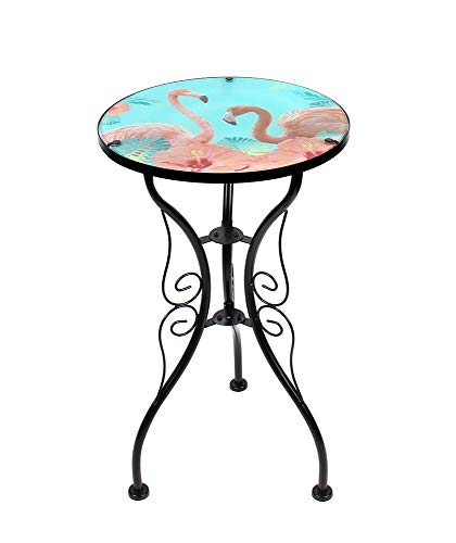 Liffy Flamingo Side Table Outdoor Round Painted Glass Desk for Garden, Dining Room