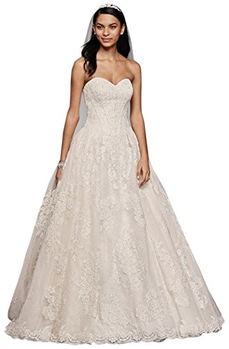 Oleg Cassini Wedding Ball Gown with Lace Appliques Style CWG749, Ivory, 8