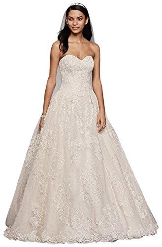 David's Bridal Oleg Cassini Wedding Ball Gown with Lace Appliques Style CWG749, Ivory, (Oleg Cassini Davids Bridal)