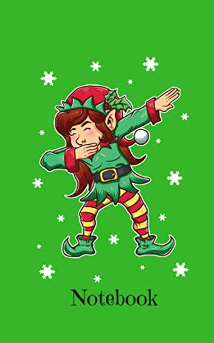 (Notebook: Dabbing Christmas Elf On Green Background - Blank Wide Ruled Line Paper 50 pages/25 sheets 5