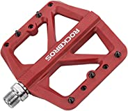 """ROCKBROS Mountain Bike Pedals MTB Pedals Lightweight Nylon Composite Bicycle Flat Pedals 9/16"""" Bike Platf"""
