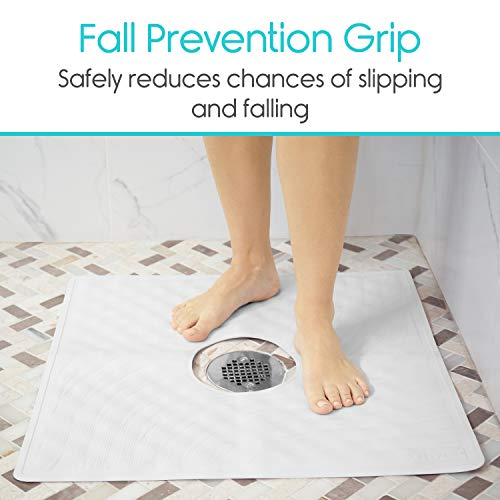 Non Slip Suction Cup Pad Shower Mat by Vive Square Bath Mats with Drain Hole