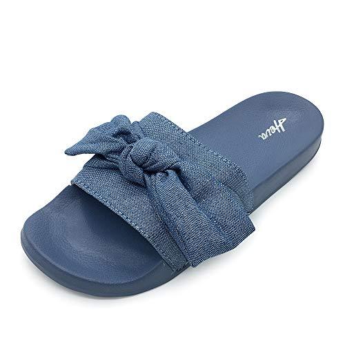 (FUNKYMONKEY Women's Slides Sandals Bowknot Beach Casual Comfort Slippers (10 M US, Blue))