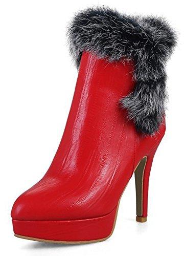 Aisun Kvinna Sexig Inuti Zip Upp Stilett Hög Klack Fotled Tossor Plattform Dressat Spetsig Tå Korta Stövlar Med Dragkedja Rött