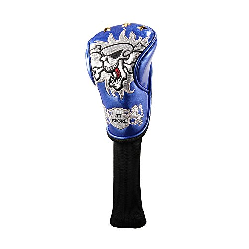 Crtystal Leather Skull Head Embroidery Style Golf Club Headcover Set Protector for Taylormade Titleist Callaway Ping Cobra Mizuno (Blue 3Wood or 5 Wood Cover) (5 Wood Cover)