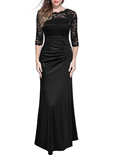 Miusol Women's Retro Floral Lace Vintage 2/3 Sleeve Slim Ruched Wedding Maxi Dress, Black, Small