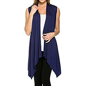 12 Ami Basic Solid Open Asymmetrical Vest – Made in USA