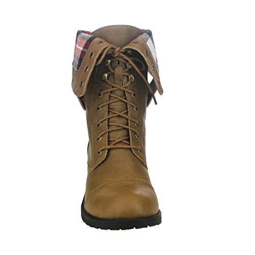 Folded Refresh FN37 Heel Military Zipper Cuff Women's Taupe Boots Block Back Combat OOEdrq4wx