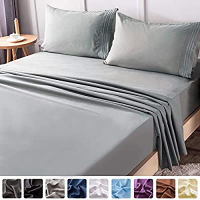 "LIANLAM Queen Bed Sheets Set - Super Soft Brushed Microfiber 1800 Thread Count - Breathable Luxury Egyptian Sheets 16-Inch Deep Pocket - Wrinkle and Hypoallergenic-4 Piece(Queen, Grey) - 😊JUST LIKE SLEEPING ON CLOUDS - LIANLAM luxury 4 piece queen sheet set are made from 100% Double Brushed Microfiber Polyester.these queen size sheets have deep pockets to will fit even the 16 inches mattresses, .They are softer,smoother,more resilient and more breathable than even the finest Egyptian cotton to bring you a comfortable and relaxing night's sleep here,make you sleep better and wake up each morning feeling refreshed and full of energy. 😊PERFECT FIT FOR YOUR BED: Includes 1 flat sheet 90""x102"", 1 fitted sheet 60""x80""x16"", 2 pillowcase 20""x30"". These bed sheets grip and fit better than any other queen sheet set! LIANLAM microfiber Bed sheet set is designed to fit nearly all mattresses with a depth that does not exceed 16"". It fits so well that you don't have to worry about how it will loosen up in bed. 😊COMFORTABLE ENVIRONMENT:LIANLAM bed sheets are hypoallergenic,those with sensitive skin or conditions like eczema rest in a healing environment instead of being further irritated at night. Our 1800 Series Ultra-Soft Double Brushed microfiber fabric is stain resistant, fade resistant, and wrinkle resistant. Say goodbye to wrinkles, and tedious tasks like ironing, and hello to cozy, soft, and comfortable bedding! - sheet-sets, bedroom-sheets-comforters, bedroom - 41sn0v2YtCL. SS400  -"