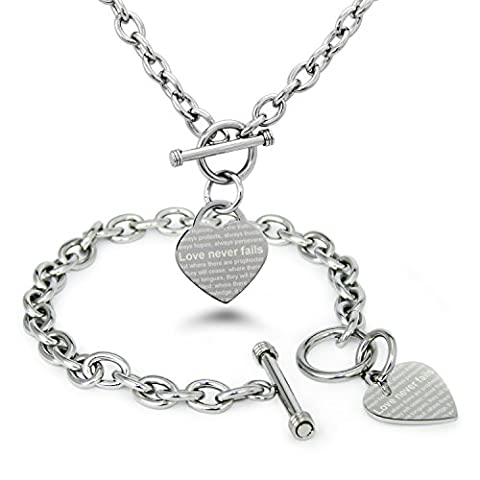 Stainless Steel Love Never Fails 1 Corinthians 13: 6-8 Heart Charm, Bracelet and Necklace Set (Heart Toggle Chain Necklace)