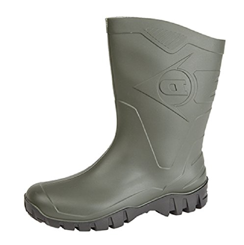 Dunlop - Botas de agua de caña ancha para hombre, color verde verde/negro