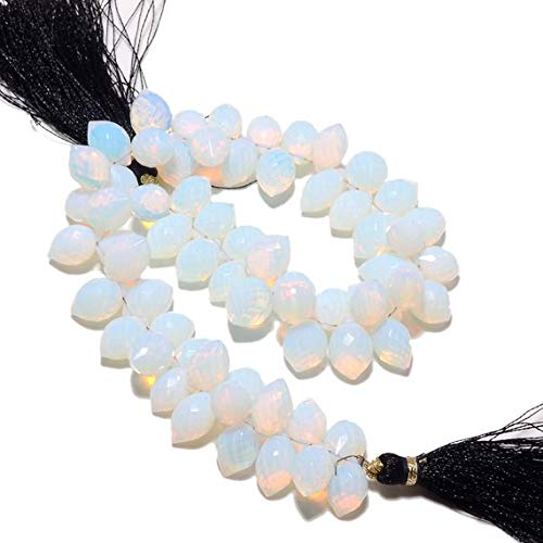 Gems World Beautiful Jewelry Fire Opal Briolettes, Opalite Beads, Opal Briolettes, Faceted Beads, Puffed Marquise, 8x11mm Each, 9 Inch Strand ()