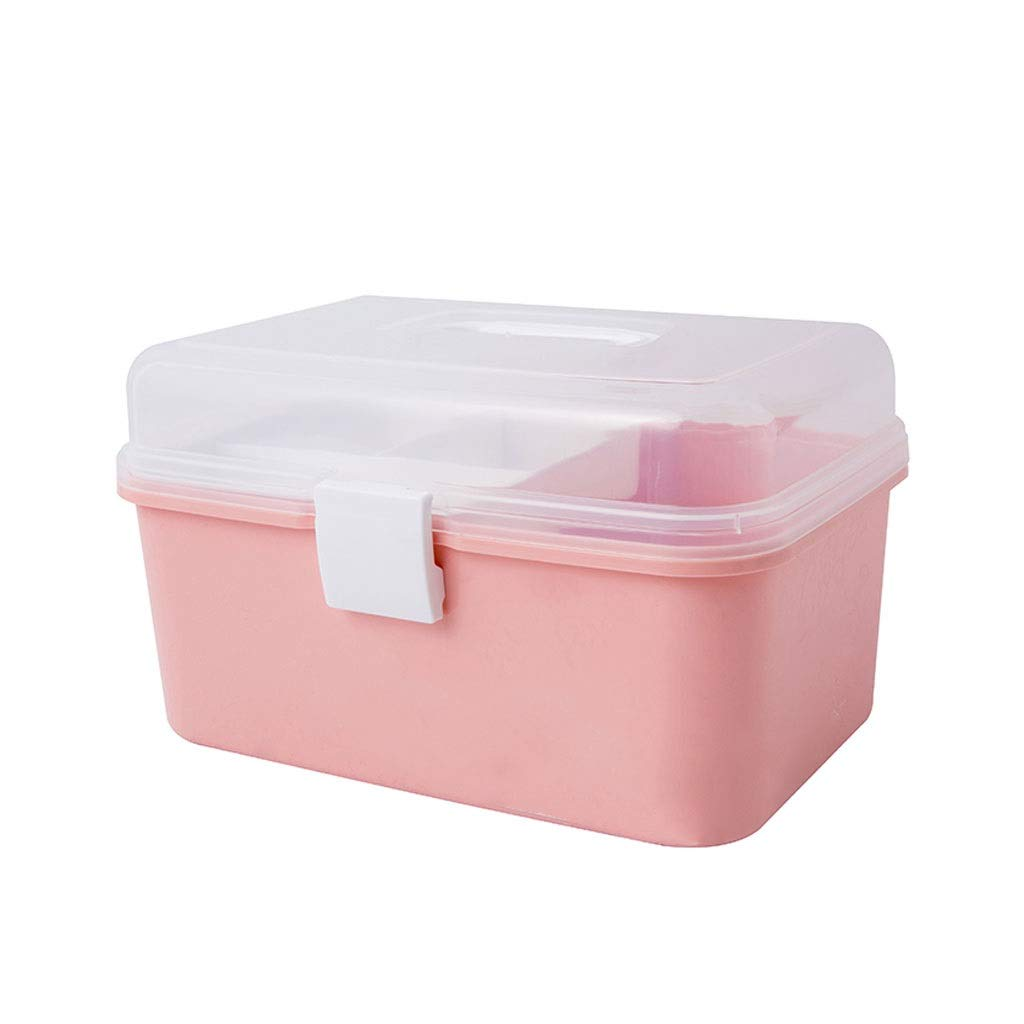Medicine box Storage Box Desktop Bedroom Storage Box Portable Medicine Storage Box Home HUXIUPING (Color : Pink)