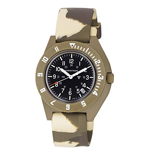 (Marathon Watch WW194013DT-NGM-CAMO-CBR Navigator Swiss Made Military Issue Pilot's Watch. ETA F06 Movement, Date and Tritium (41mm, Desert Tan with Tan Camo Strap, No Government Markings))
