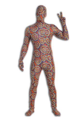 [Forum Novelties Men's Disappearing Man Patterned Stretch Body Suit Costume Tie Dye, Rainbow,] (Tie Dye Dress Costume)