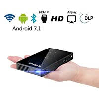 PTVDISPLAY Mini Pico Pocket Projector, Android 7.1 1080P Home Cinema Rechargeable Video Smart DLP Wireless Projector With Wifi and Bluetooth, Support Auto Keystone HDMI USB TF Card, Display for Iphone