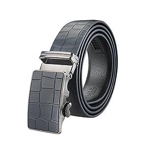 "Men's Belt Ratchet Leather Dress Belt with Automatic Buckle 35mm Wide 27""-40"" Crocodile Grain Dark Blue"