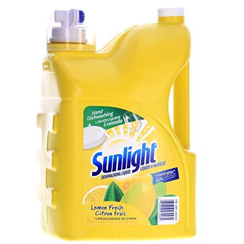 Sunlight Mega Value Pack Dish Washing Liquid Detergent Soap, Lemon Fresh - 1.32 Gallon (169 Fl Oz) - 5 ()