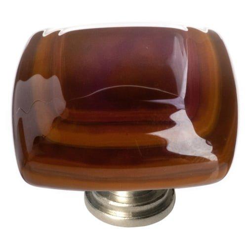 Umber Pull (Stratum Square Knob Base Finish: Satin Nickel, Color: Woodland/Umber)
