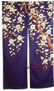 Noren Curtain Japanese Doorway Curtain Tapestry for Home or Restaurant Decoration Heavy Weight Cotton Made in Japan Blue-Apricot Flower