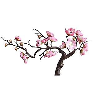 Smorran Spring Peach Plum Blossom Blossom Cherry Plum Bouquet Branch Silk Flower,Artificial Flowers Fake Flower for Wedding Home Office Party Hotel Yard Decoration 93