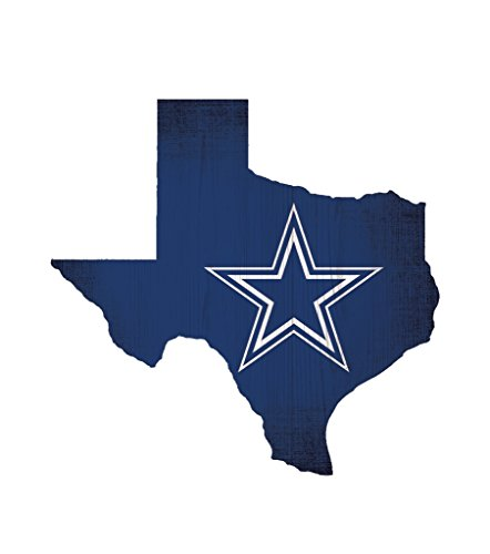 Fan Creations Dallas Cowboys Wood Sign 12 Inch State Shape Design ()