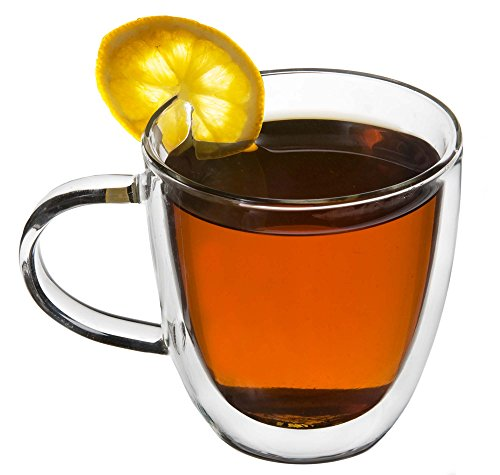 Artisan Glassworks 2-Pc Set Double Wall Tea/Coffee Cups Borosilicate Glass w/Wooden Spoon 8.45oz/250ml