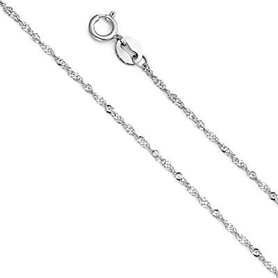 14k Yellow OR White Gold SOLID 1mm Singapore Chain Necklace with Spring Ring Clasp