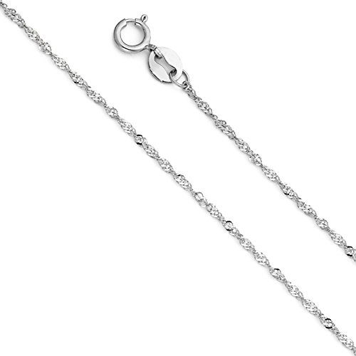 14k White Gold Solid 1mm Singapore Chain Necklace with Spring Ring Clasp - 22