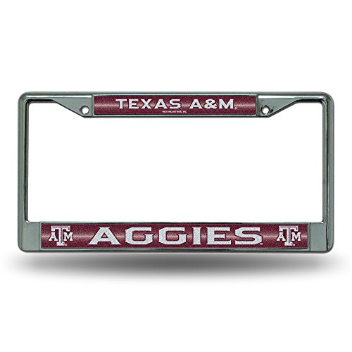 NCAA Texas A&M Aggies Bling Chrome License Plate Frame with Glitter ()