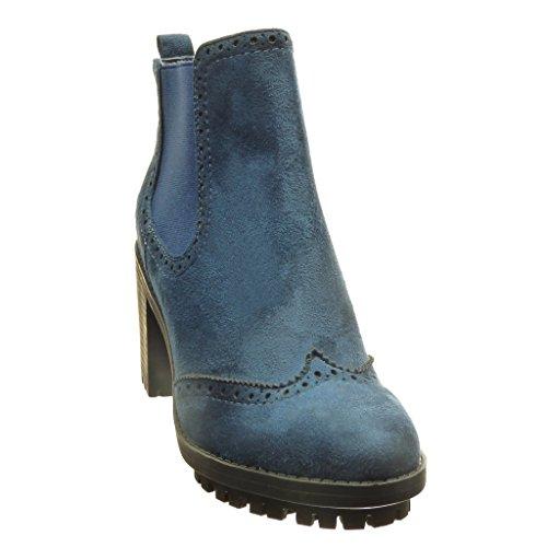 Tacco Stivaletti Donna Perforato Moda Alto cm Rangers Blu Scarponcini Angkorly 7 cm Scarpe Blocco Chelsea a Boots BzSxwn